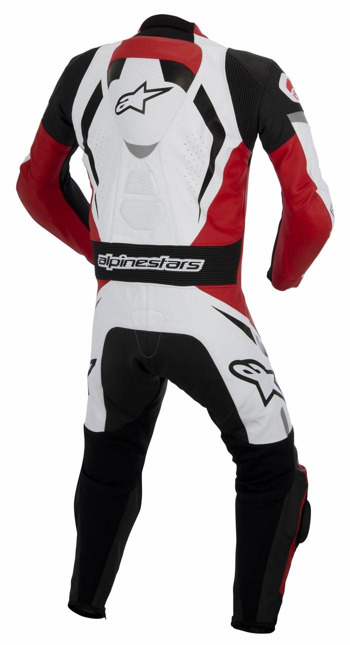 Alpinestars Motegi one piece leather suit black white red