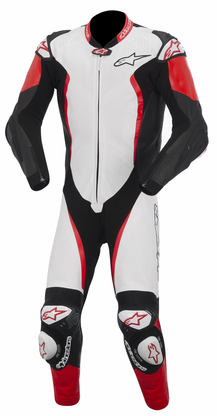 Alpinestars GP TECH one piece leather suit white black red