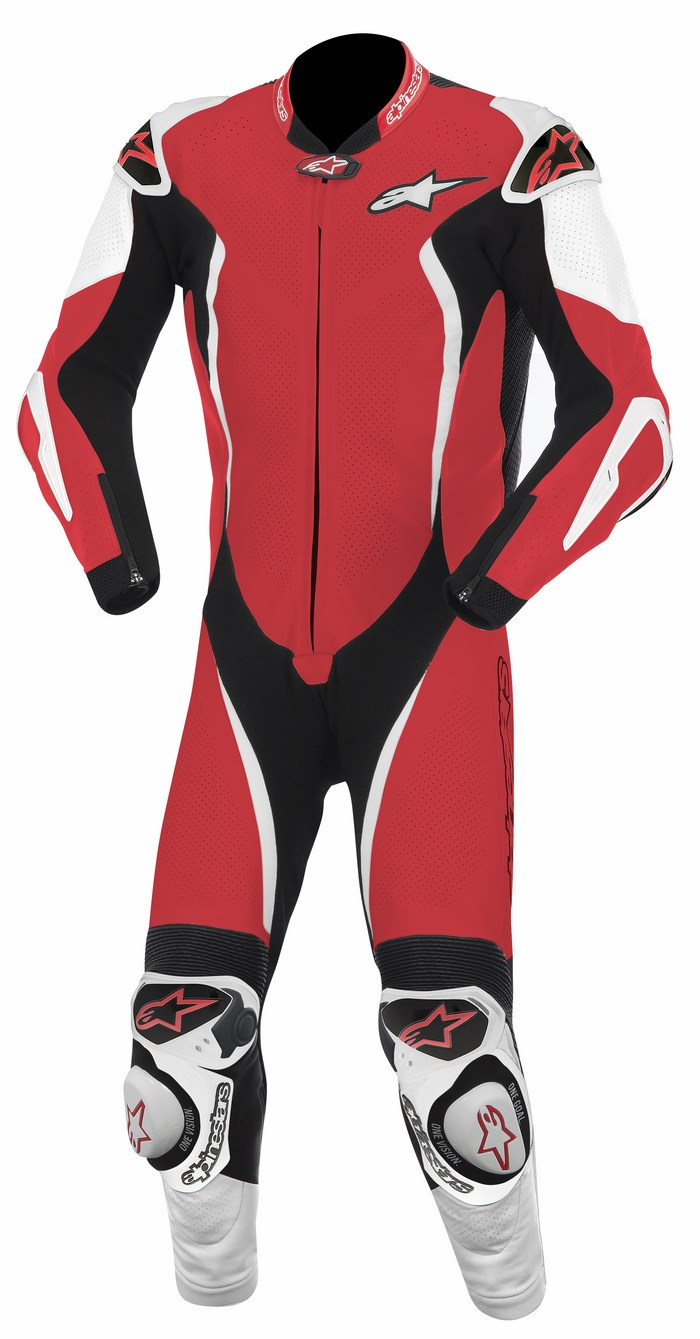 Alpinestars GP TECH one piece leather suit red white black
