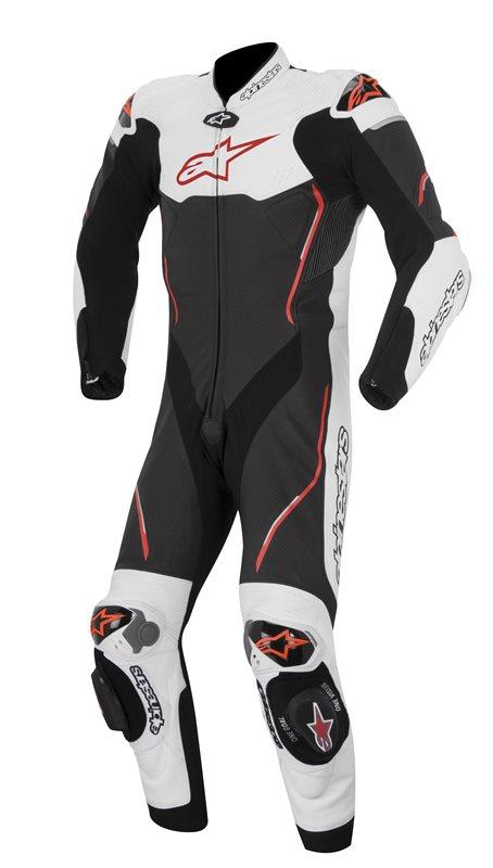Tuta moto pelle Alpinestars Atem nero bianco rosso