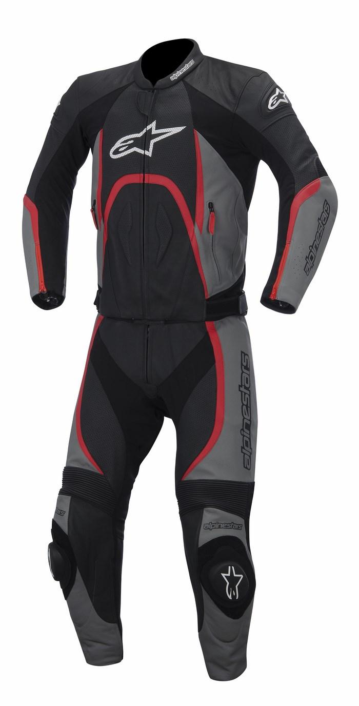 Tuta moto pelle divisibile Alpinestars Orbiter nero grigio rosso