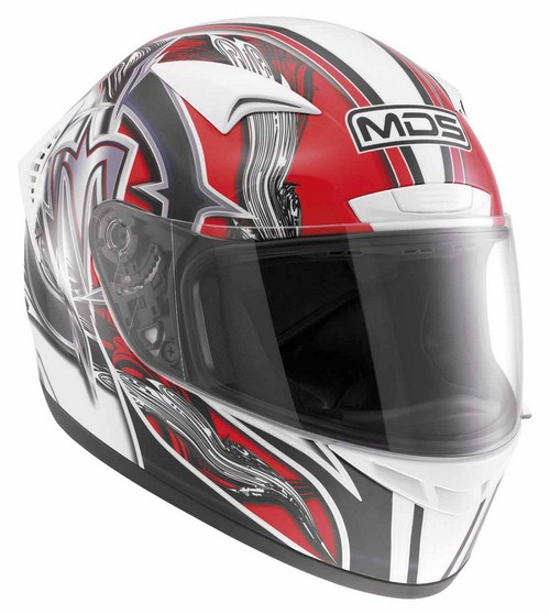 Casco moto Mds by Agv M13 Multi Brush bianco rosso