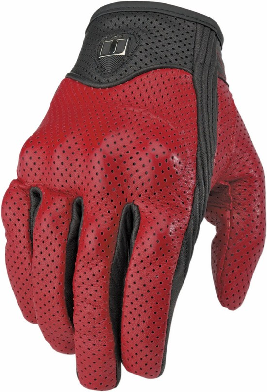 Summer Motorcycle Gloves Icon Pursuit Perforated leather Red