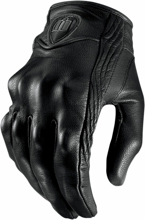 Summer Motorcycle Gloves Icon Pursuit Leather Black