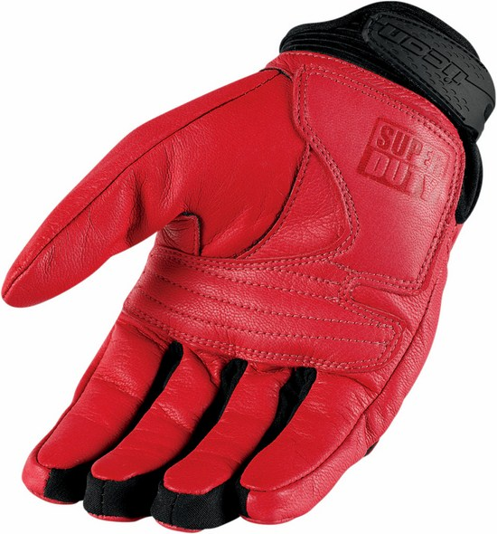Summer Leather Motorcycle Gloves Icon Superduty 2 Red