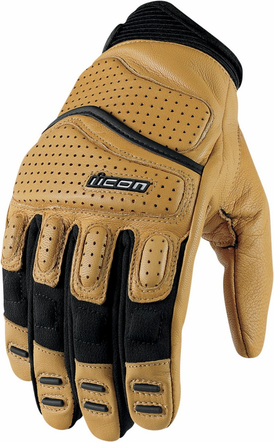 Summer Leather Motorcycle Gloves Icon Superduty 2 Brown