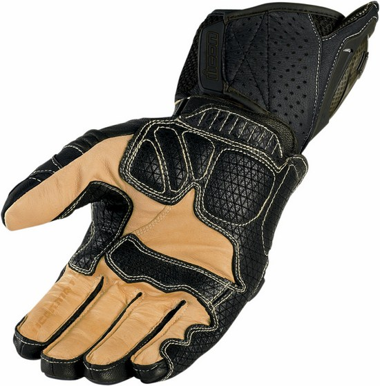 Summer Motorcycle Gloves Icon Overlord Leather Black