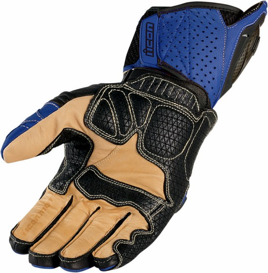 Summer Leather Motorcycle Gloves Icon Overlord Blue