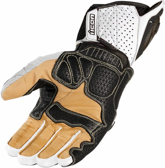 Summer Leather Motorcycle Gloves Icon Overlord White