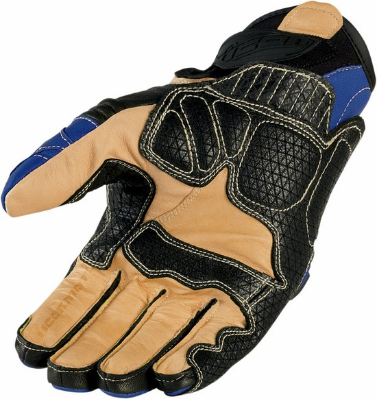 Summer Leather Motorcycle Gloves Icon Overlord Short Blue