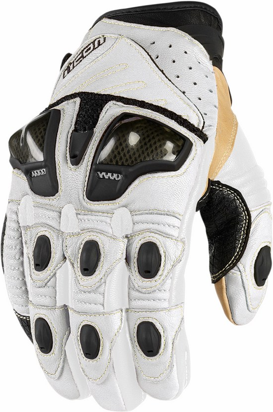 Summer Leather Motorcycle Gloves Icon Overlord Short White