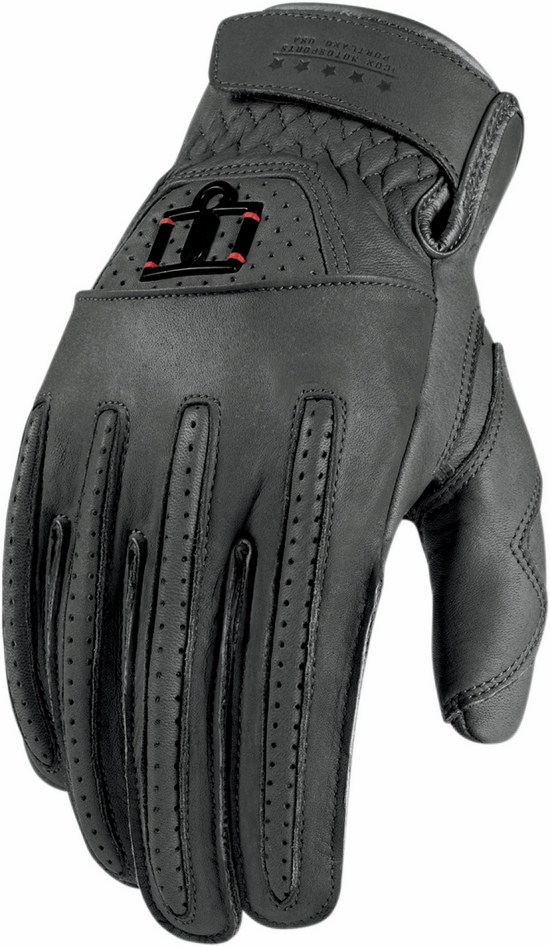 Leather motorcycle gloves summer 1000 Rimfire Icon Grey