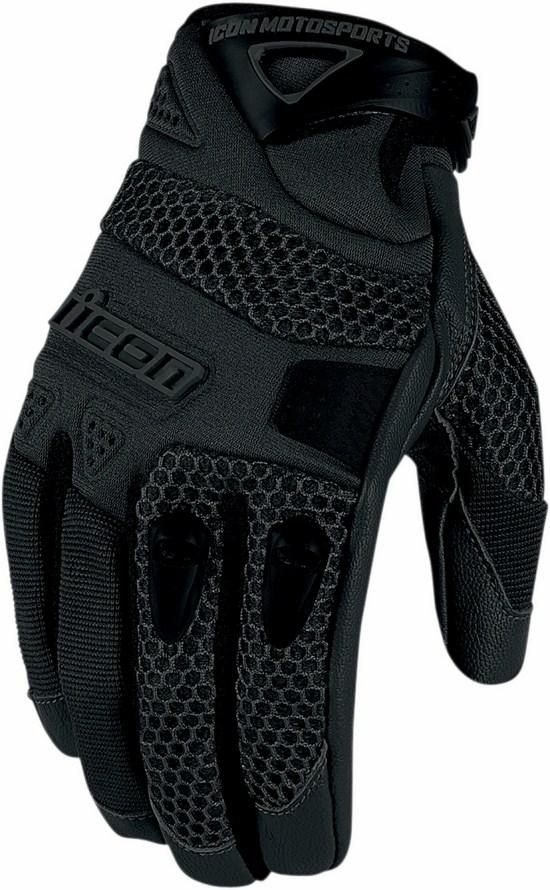 Summer Motorcycle Gloves Icon Anthem Black