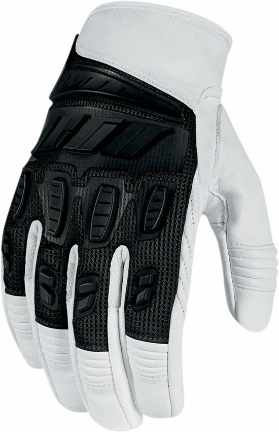 Summer Motorcycle Gloves Icon Hooligan White Black