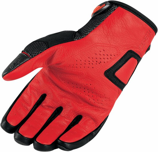 Summer Motorcycle Gloves Icon Overlord Red Resistance