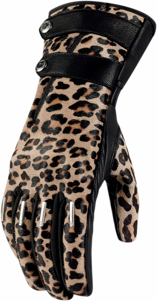 Icon Women Leather Motorcycle Gloves 1000 Catwalk along Le