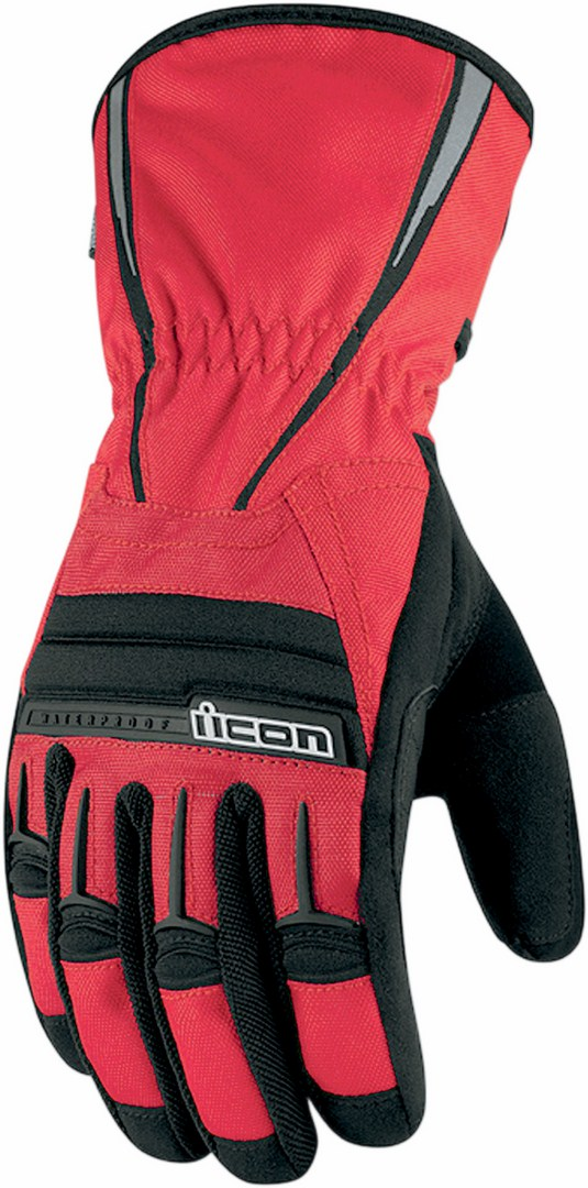 Icon PDX Waterproof Motorcycle Gloves Red