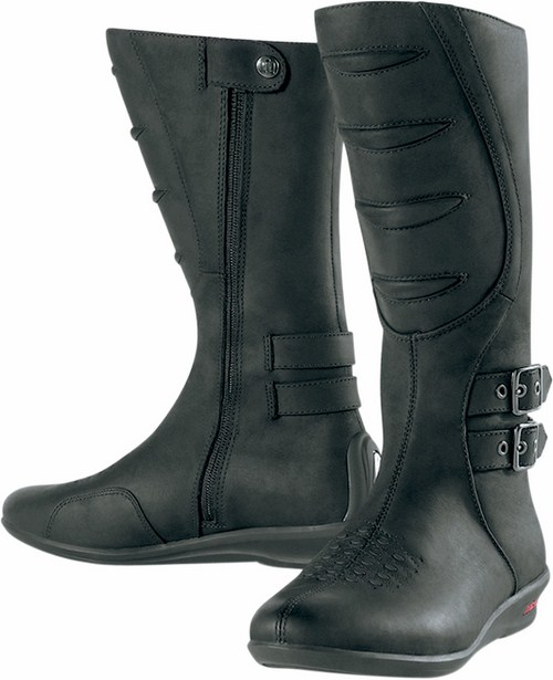 Women leather motorcycle boots Sacred Icon Black