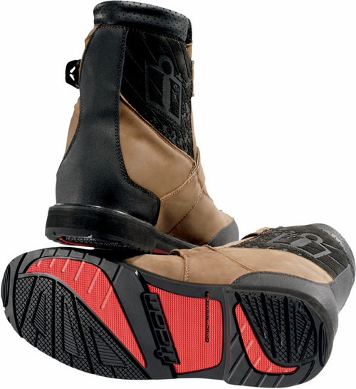 Icon Patrol Waterproof Motorcycle Boots Leather Brown