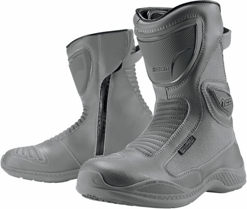 Icon Reign Waterproof Motorcycle Boots Women Grey