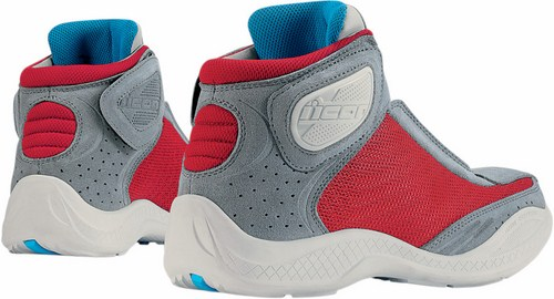 Icon Tarmac Motorcycle Leather Shoes 2 Red Grey