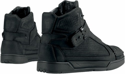 Icon motorcycle leather shoes 1000 Black Truant