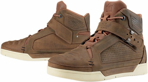 Icon motorcycle leather shoes Brown 1000 Truant
