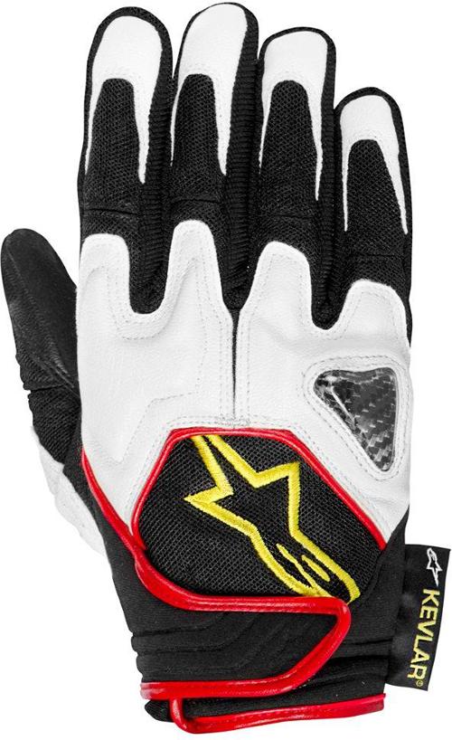 Guanti moto Alpinestars Scheme Kevlar nero-bianco-giallo fluo