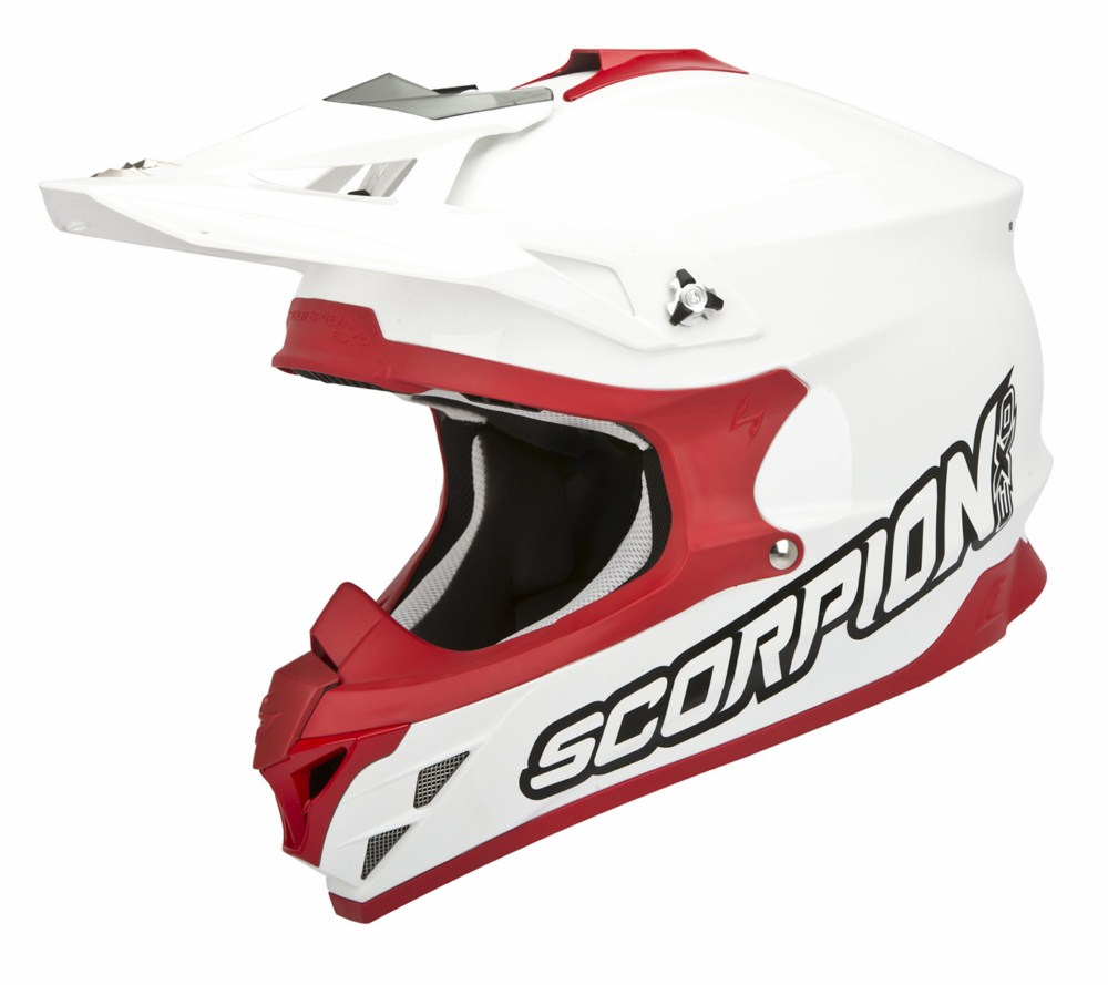 Scorpion VX 15 Evo Air Solid cross helmet white red