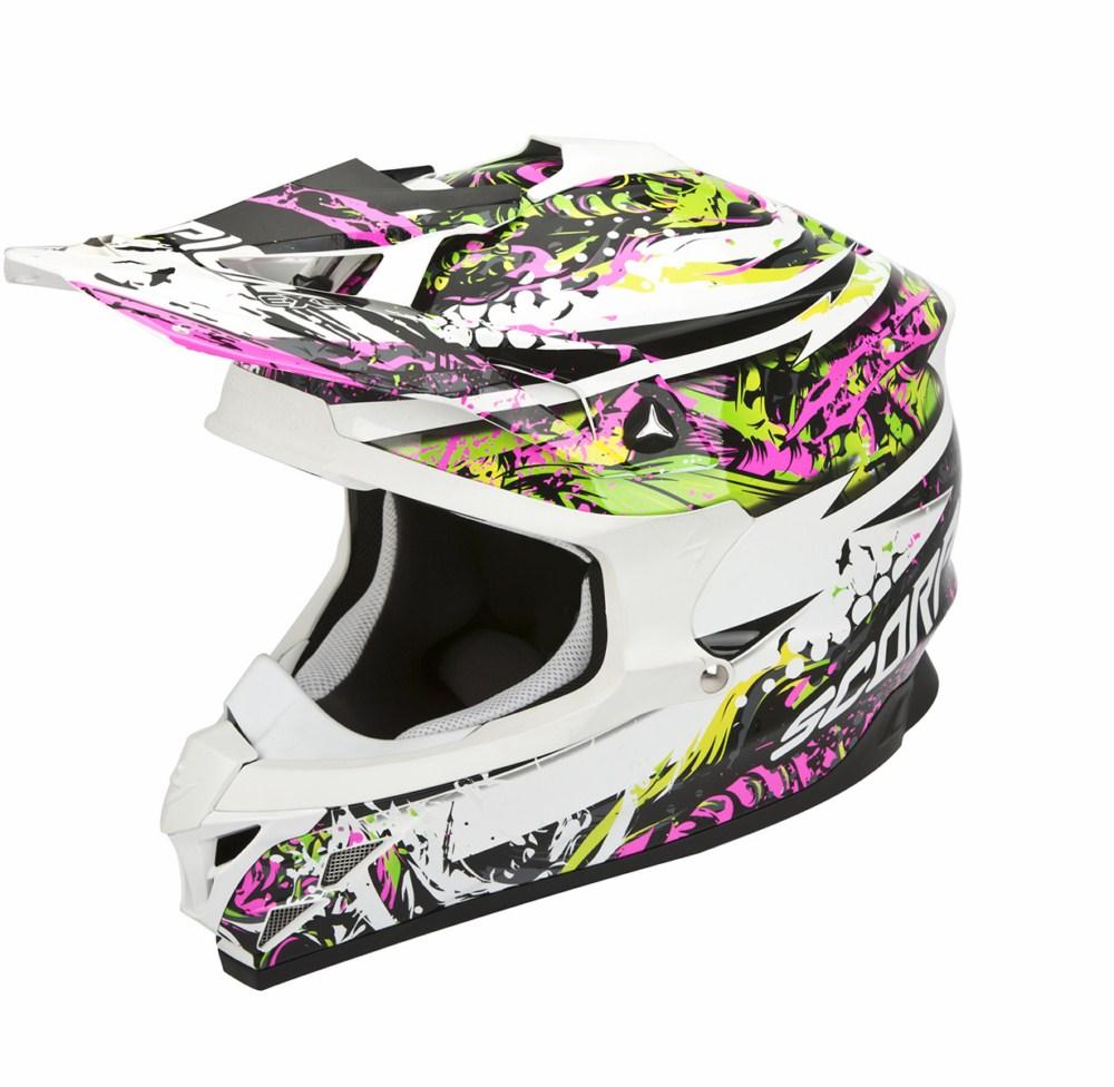 Scorpion VX 15 Evo Air Horror cross helmet white pink green