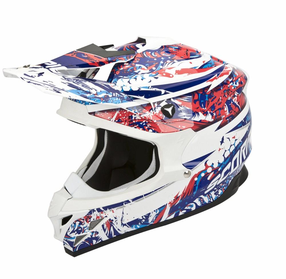 Scorpion VX 15 Evo Air Horror cross helmet white red blue
