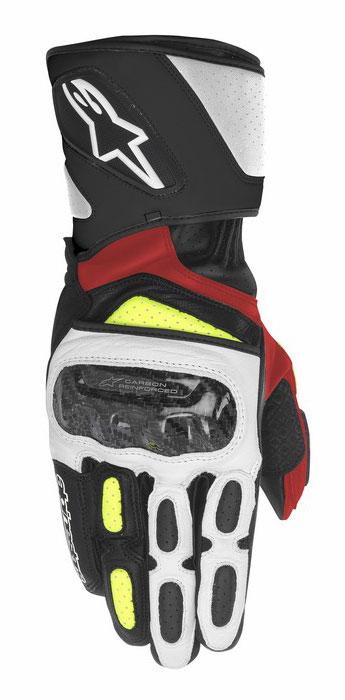 Guanti moto pelle Alpinestars SP-2 Nero Bianco Giallo Rosso