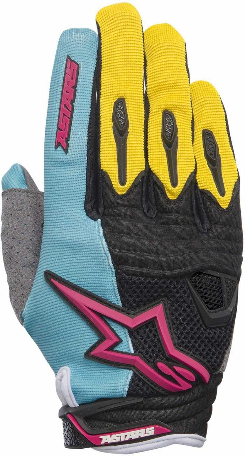 Guanti cross Alpinestars Techstar Teal Giallo Magenta