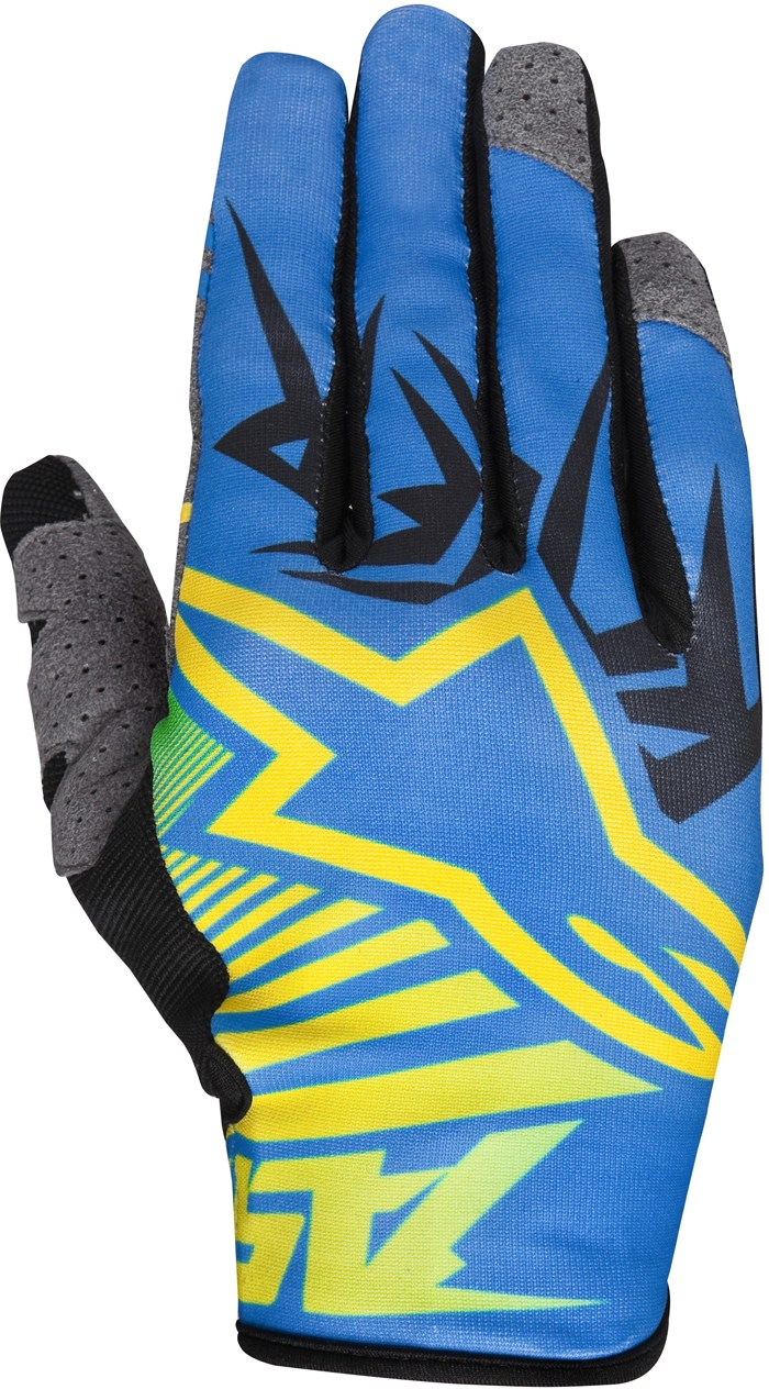 Guanti cross Alpinestars Racer Braap Giallo Blu Lime