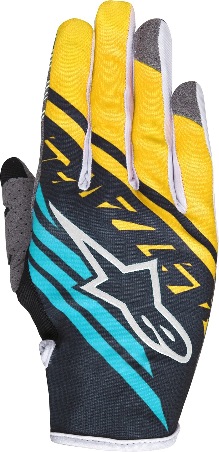 Guanti cross Alpinestars Racer Supermatic Nero Giallo Teal