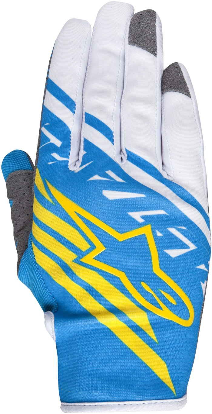 Alpinestars Racer Supermatic cross gloves Blue White Yellow