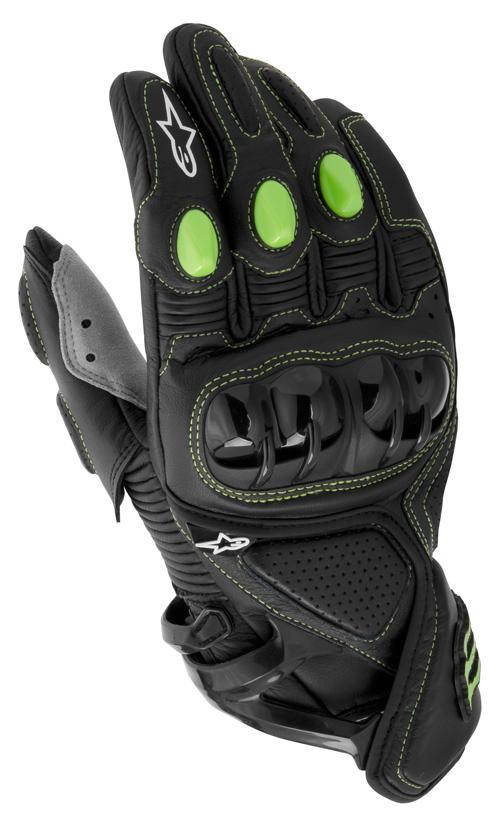 Guanti moto pelle Alpinestars M1 Monster collection nere-verde