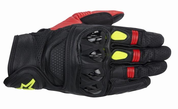 Guanti moto Alpinestars Celer nero rosso giallo fluo