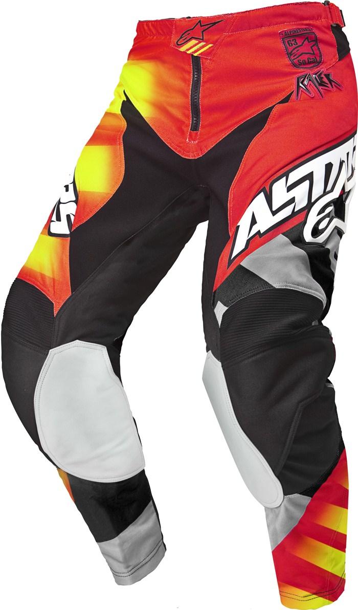Pantaloni cross Alpinestars Racer Braap Rosso Nero Giallo