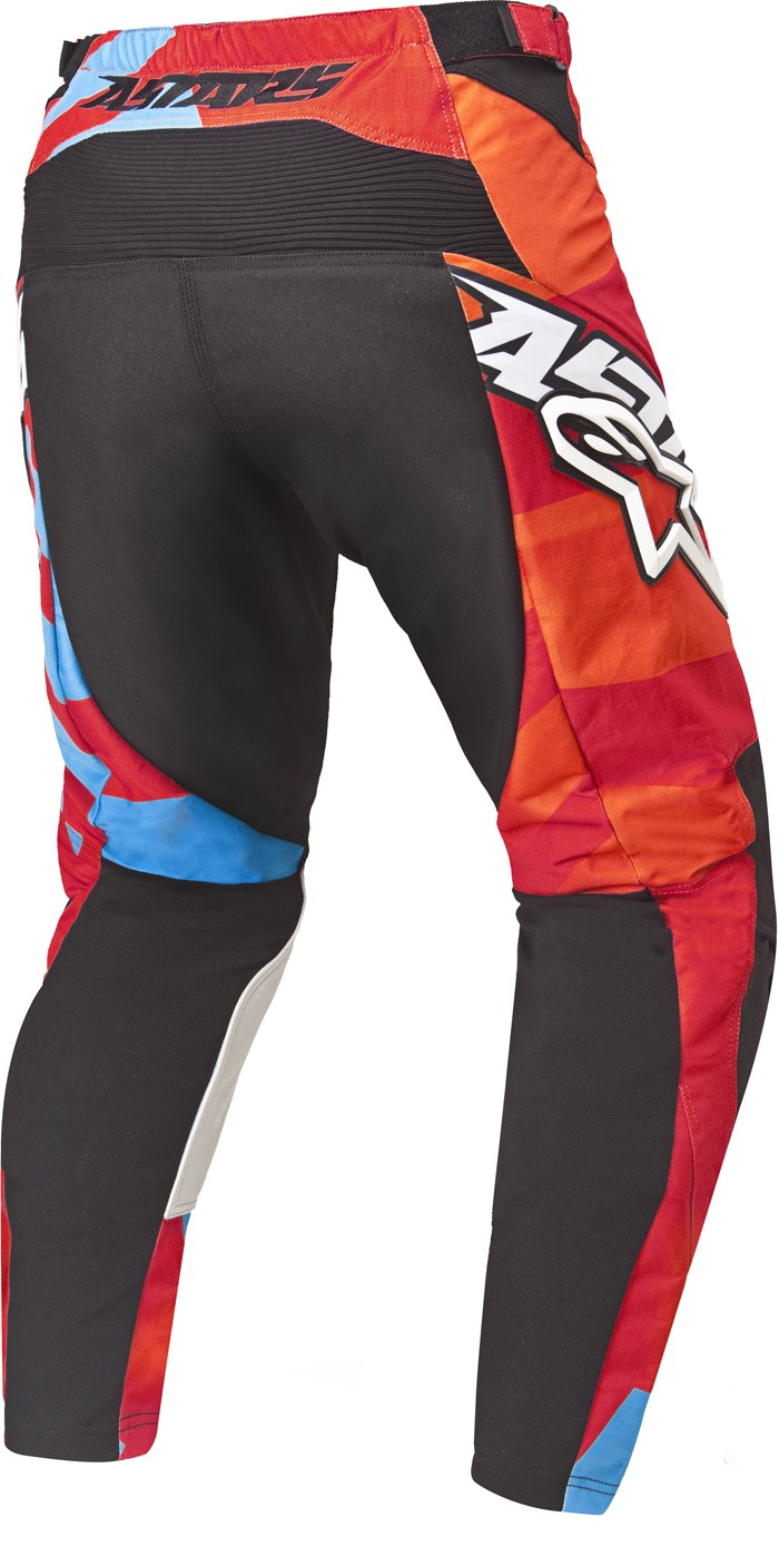 Pantaloni cross Alpinestars Racer Braap Rosso Arancio Blu