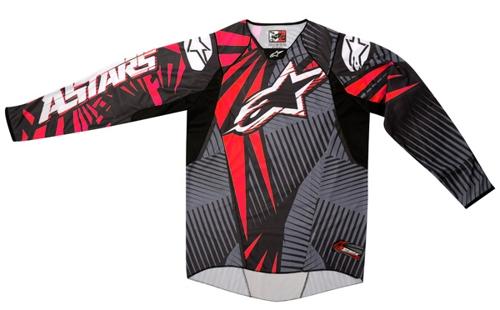Alpinestars techstars off-road jersey gray-red-black