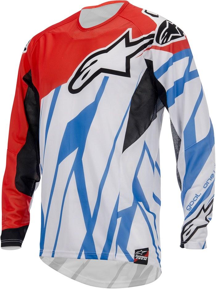 Maglia cross Alpinestars Techstar Rosso Blu Bianco