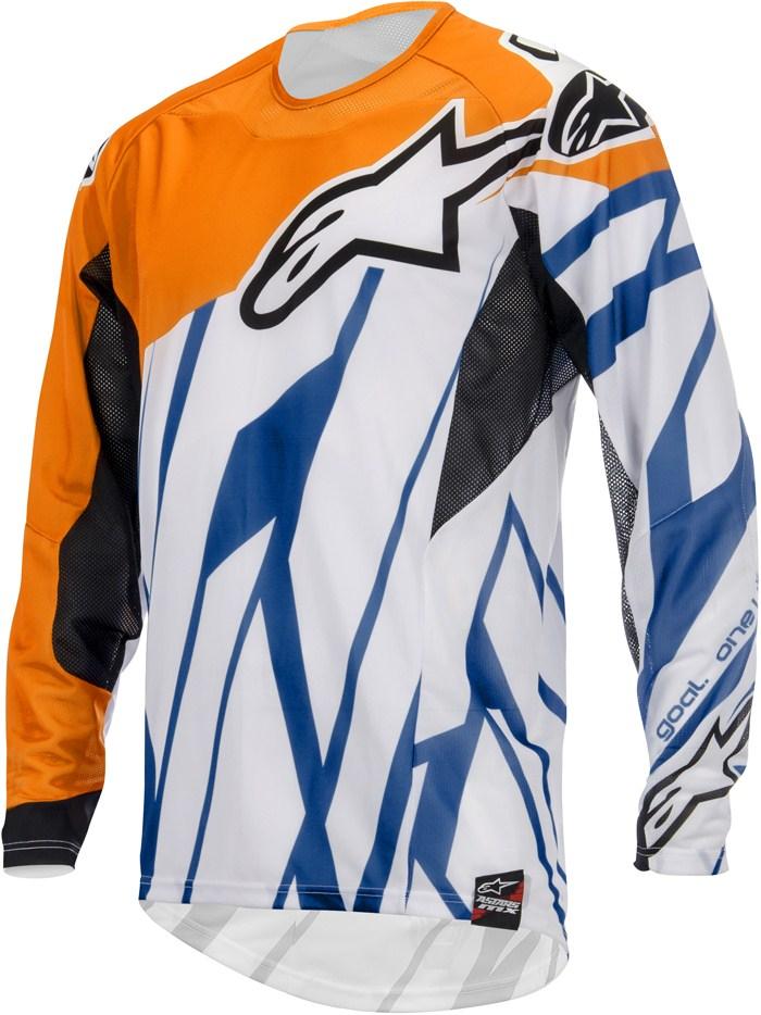 Maglia cross Alpinestars Techstar Arancio Bianco Blu