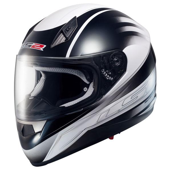 Casco moto integrale LS2 FF384 Iron Nero Bianco