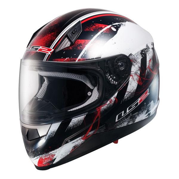 Motorcycle helmet full LS2 FF384 Black Red Asphalt