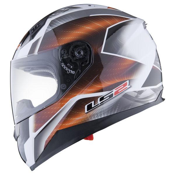Casco moto integrale LS2 FF384 Saga Bianco Arancio