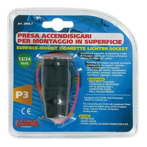 Surface-mount cigarette lighter socket 12-24