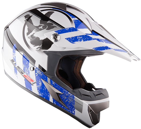 Cross helmet LS2 MX433 White Blue Stripe
