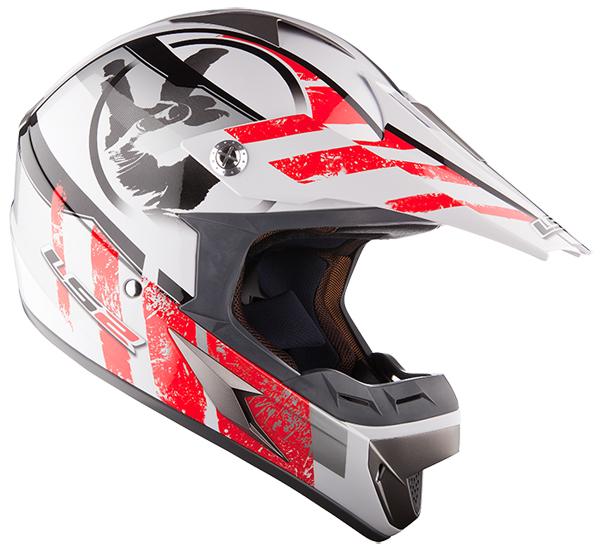 Cross helmet LS2 MX433 White Red Stripe