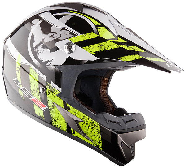Casco cross LS2 MX433 Stripe Nero Giallo fluo